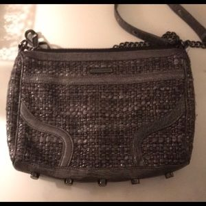 REBECCA MINKOFF MEDIUM MAC TWEED AND LEATHER PURSE